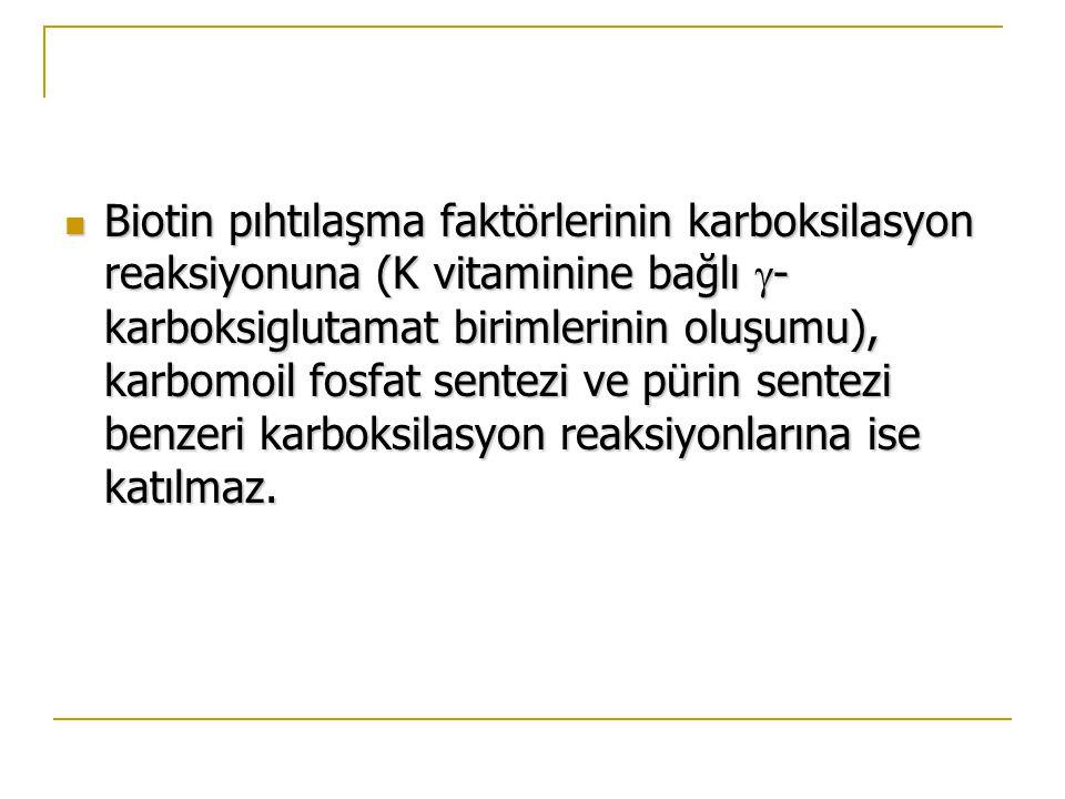 Biotin pıhtılaşma faktörlerinin karboksilasyon reaksiyonuna (K vitaminine bağlı -karboksiglutamat birimlerinin oluşumu), karbomoil fosfat sentezi ve pürin sentezi benzeri karboksilasyon reaksiyonlarına ise katılmaz.