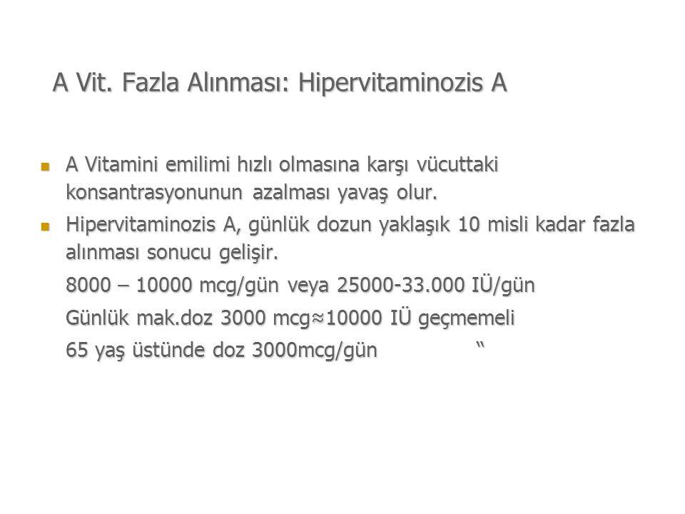 A Vit. Fazla Alınması: Hipervitaminozis A