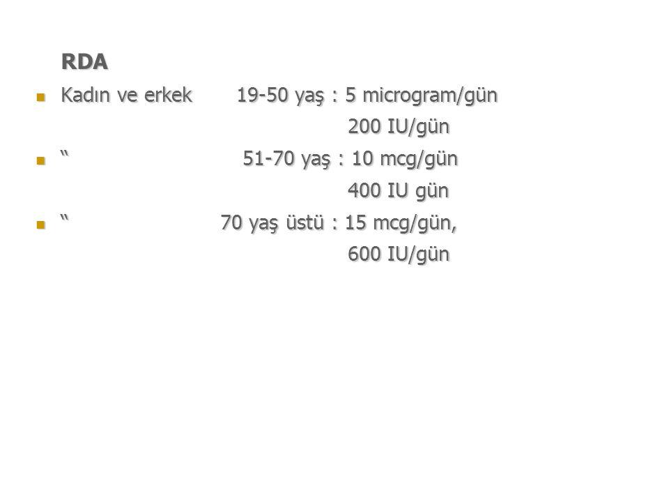 RDA Kadın ve erkek 19-50 yaş : 5 microgram/gün 200 IU/gün