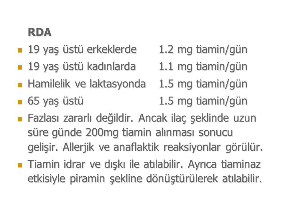 RDA 19 yaş üstü erkeklerde 1.2 mg tiamin/gün. 19 yaş üstü kadınlarda 1.1 mg tiamin/gün. Hamilelik ve laktasyonda 1.5 mg tiamin/gün.