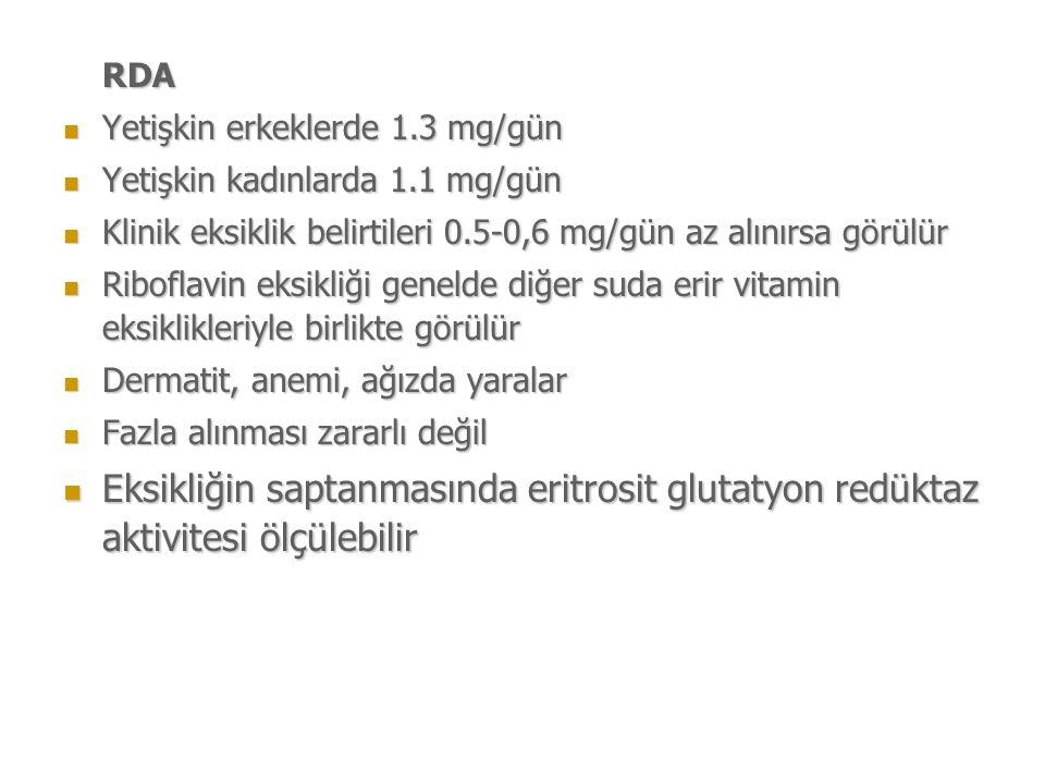 RDA Yetişkin erkeklerde 1.3 mg/gün. Yetişkin kadınlarda 1.1 mg/gün. Klinik eksiklik belirtileri 0.5-0,6 mg/gün az alınırsa görülür.