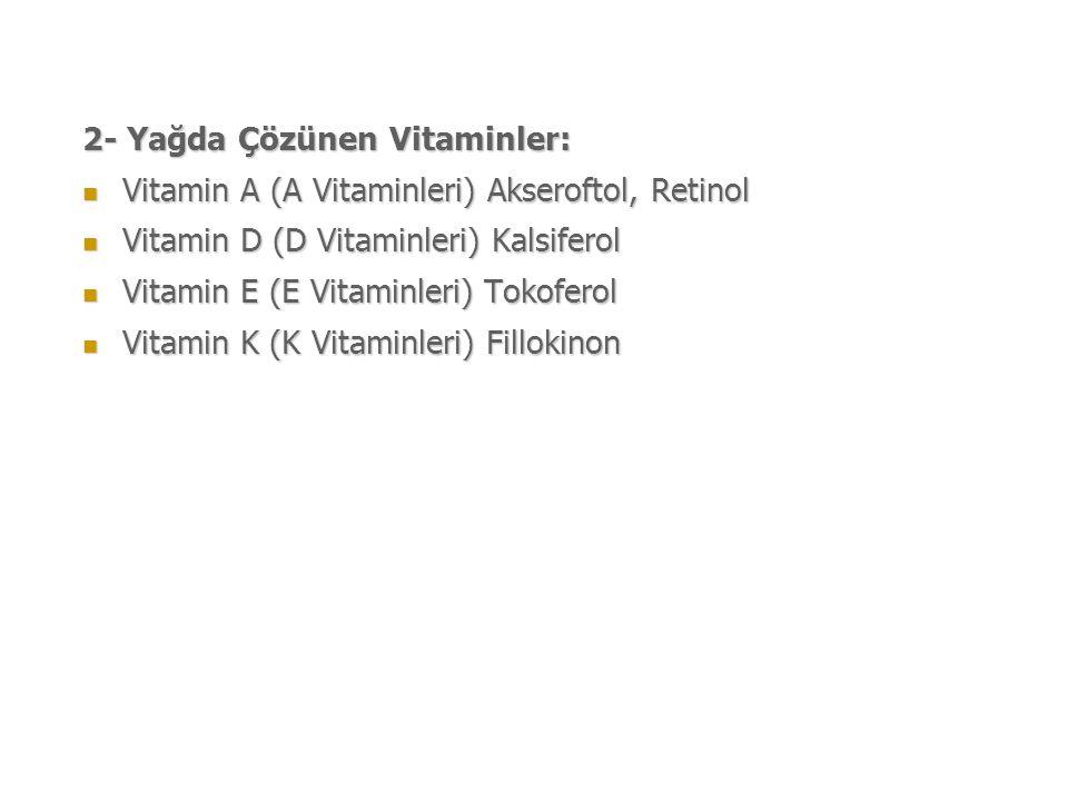 2- Yağda Çözünen Vitaminler: