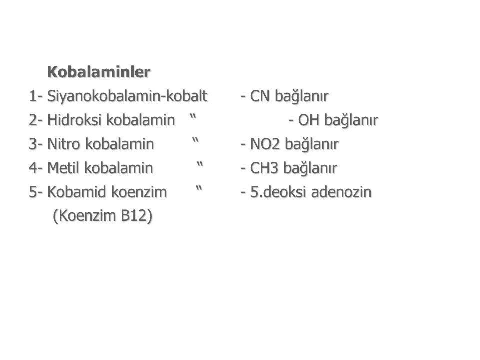 Kobalaminler 1- Siyanokobalamin-kobalt - CN bağlanır. 2- Hidroksi kobalamin - OH bağlanır.