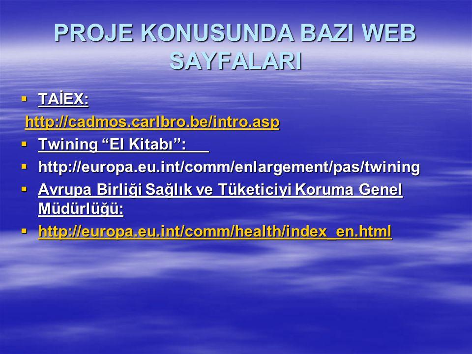 PROJE KONUSUNDA BAZI WEB SAYFALARI