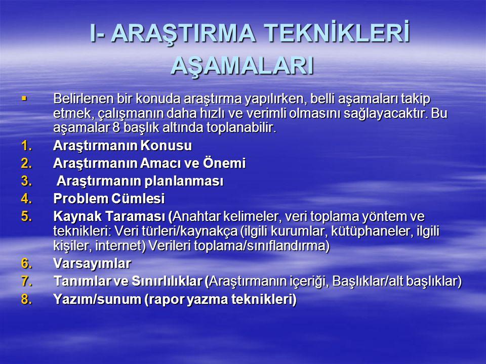 I- ARAŞTIRMA TEKNİKLERİ AŞAMALARI