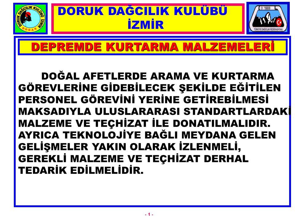 DEPREMDE KURTARMA MALZEMELERİ