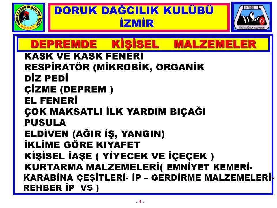 DEPREMDE KİŞİSEL MALZEMELER