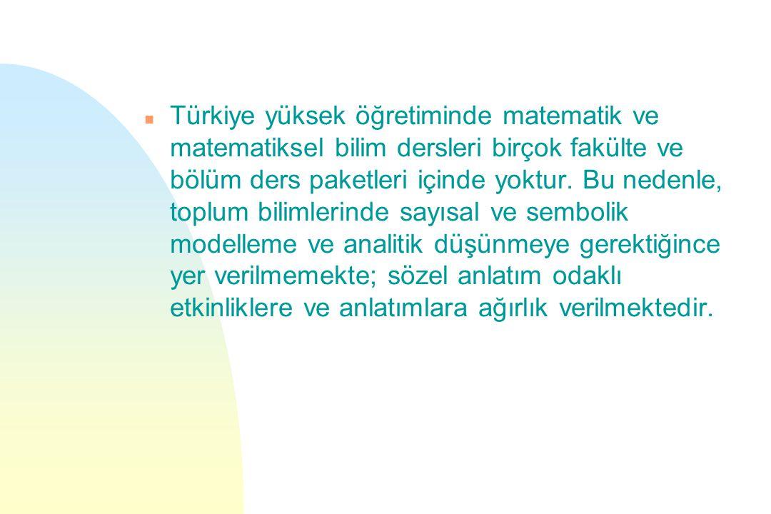 Türkiye yüksek öğretiminde matematik ve matematiksel bilim dersleri birçok fakülte ve bölüm ders paketleri içinde yoktur.