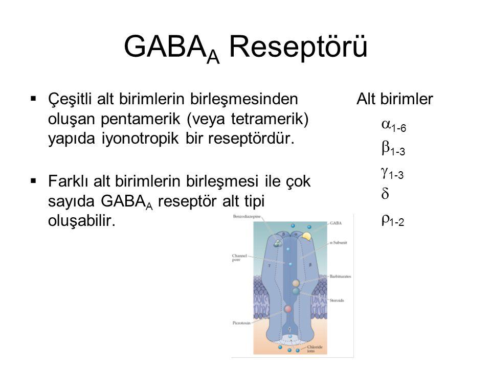 GABAA Reseptörü Çeşitli alt birimlerin birleşmesinden oluşan pentamerik (veya tetramerik) yapıda iyonotropik bir reseptördür.