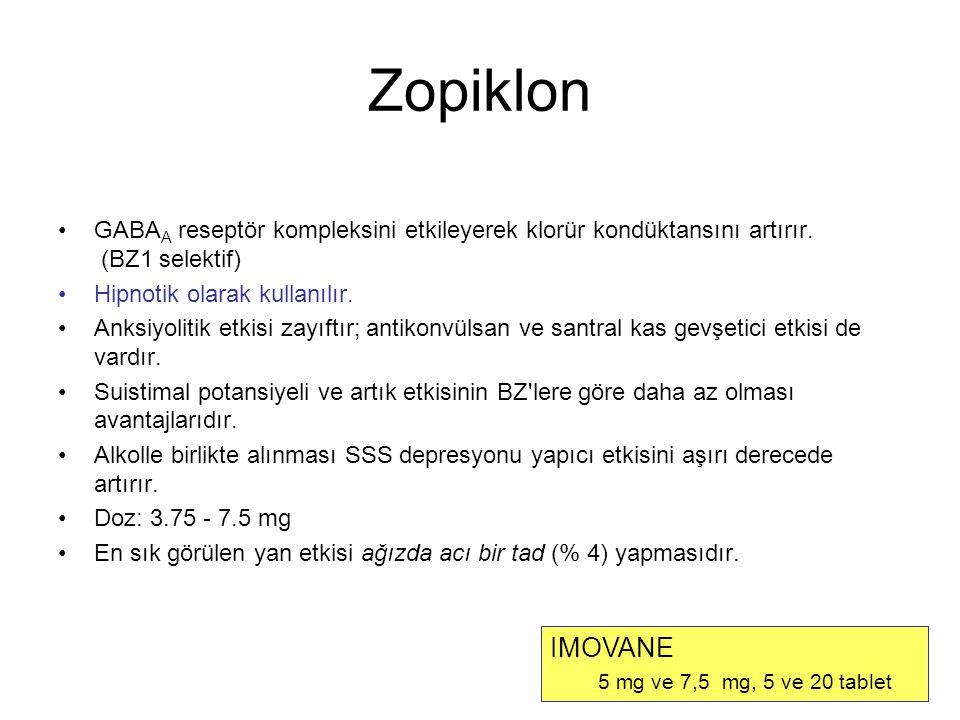 Zopiklon GABAA reseptör kompleksini etkileyerek klorür kondüktansını artırır. (BZ1 selektif) Hipnotik olarak kullanılır.