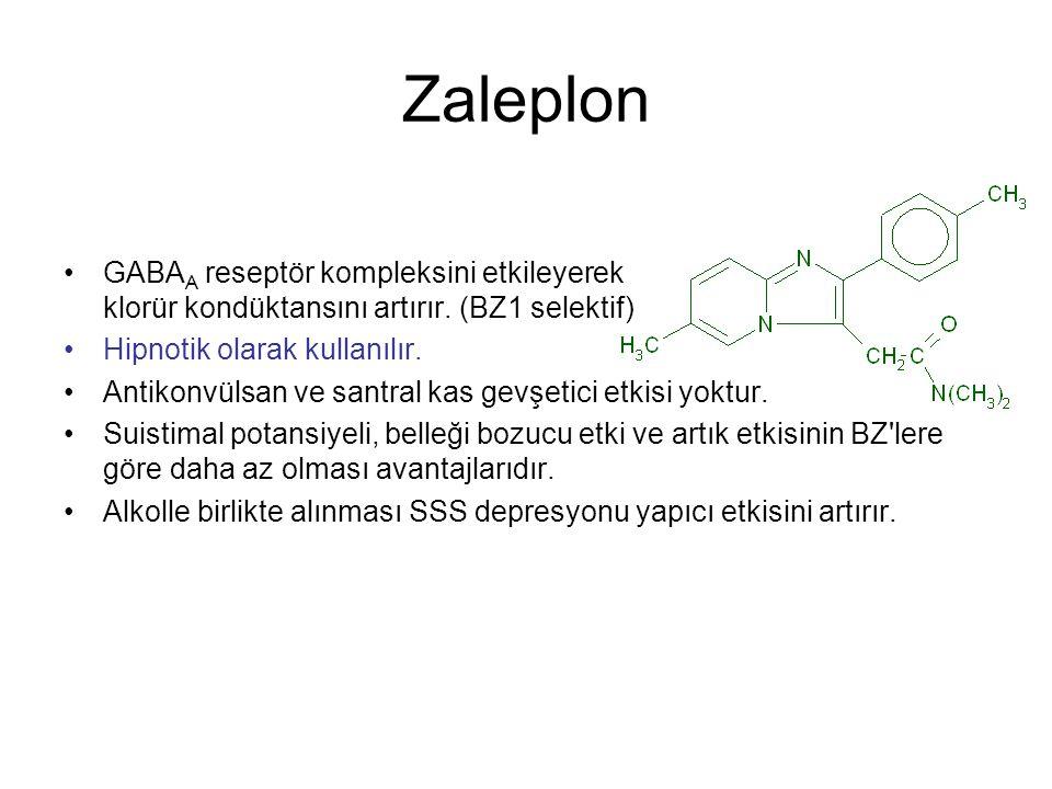 Zaleplon GABAA reseptör kompleksini etkileyerek klorür kondüktansını artırır. (BZ1 selektif) Hipnotik olarak kullanılır.