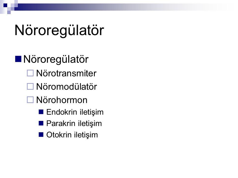 Nöroregülatör Nöroregülatör Nörotransmiter Nöromodülatör Nörohormon