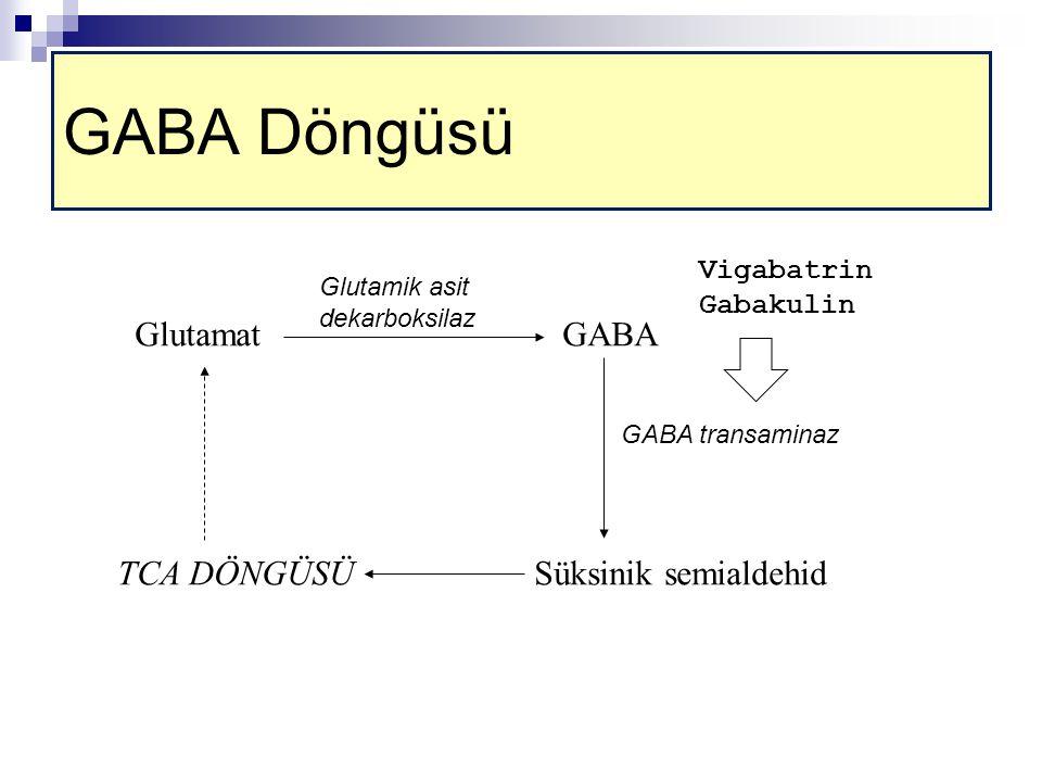 GABA Döngüsü Glutamat GABA TCA DÖNGÜSÜ Süksinik semialdehid Vigabatrin