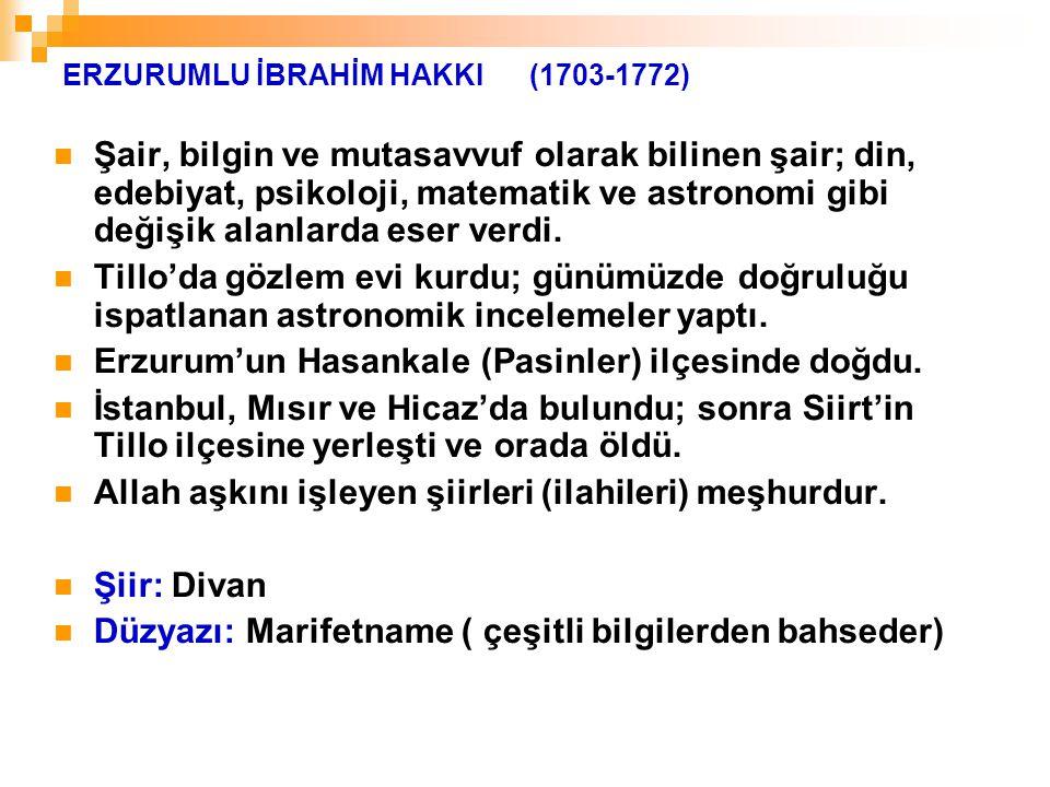 ERZURUMLU İBRAHİM HAKKI (1703-1772)
