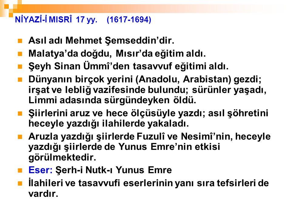 Asıl adı Mehmet Şemseddin'dir. Malatya'da doğdu, Mısır'da eğitim aldı.