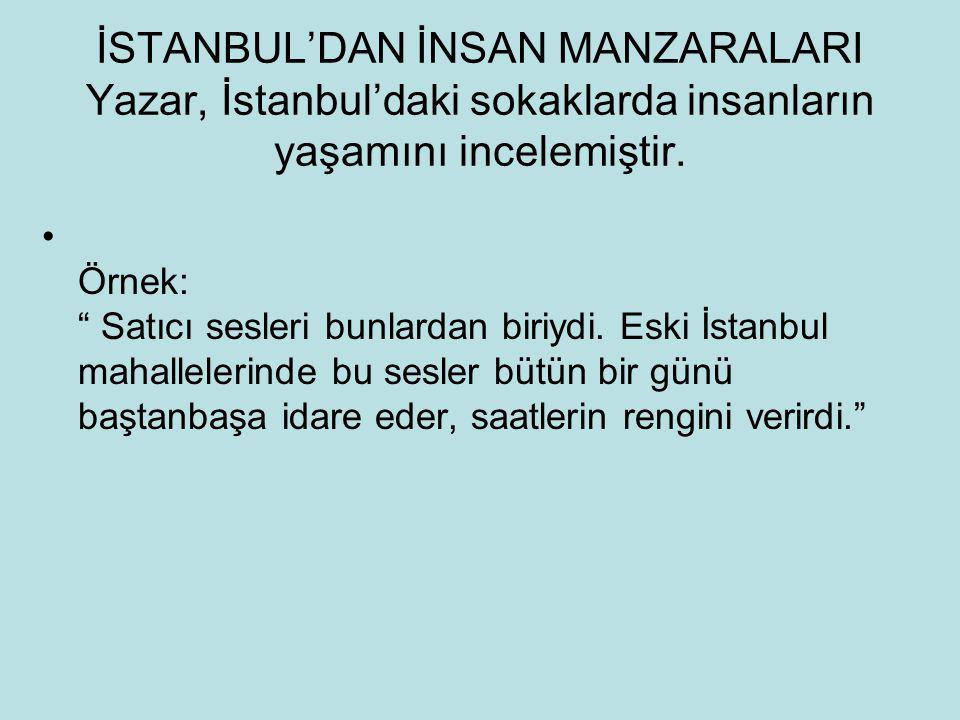 İSTANBUL'DAN İNSAN MANZARALARI Yazar, İstanbul'daki sokaklarda insanların yaşamını incelemiştir.