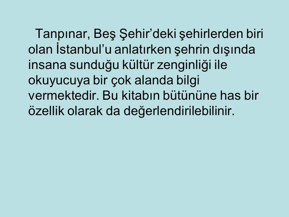 Tanpınar, Beş Şehir'deki şehirlerden biri olan İstanbul'u anlatırken şehrin dışında insana sunduğu kültür zenginliği ile okuyucuya bir çok alanda bilgi vermektedir.