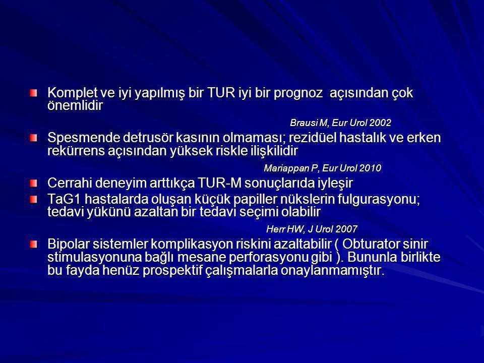Cerrahi deneyim arttıkça TUR-M sonuçlarıda iyleşir