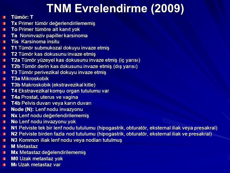 TNM Evrelendirme (2009) Tümör: T Tx Primer tümör değerlendirilememiş