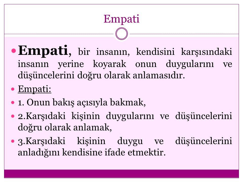 Empati Empati, bir insanın, kendisini karşısındaki insanın yerine koyarak onun duygularını ve düşüncelerini doğru olarak anlamasıdır.