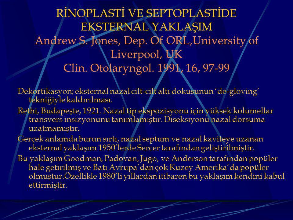 RİNOPLASTİ VE SEPTOPLASTİDE EKSTERNAL YAKLAŞIM Andrew S. Jones, Dep
