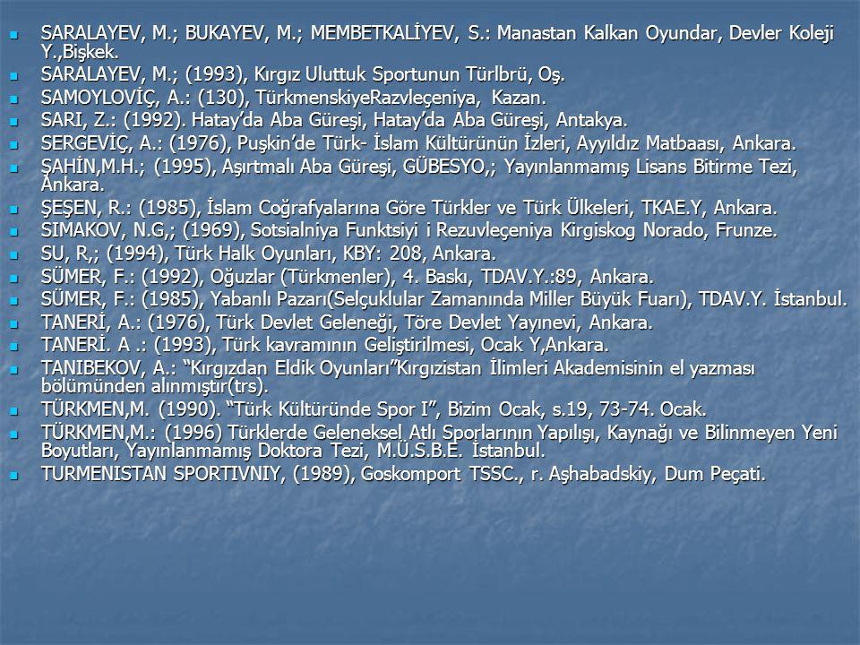 SARALAYEV, M. ; BUKAYEV, M. ; MEMBETKALİYEV, S