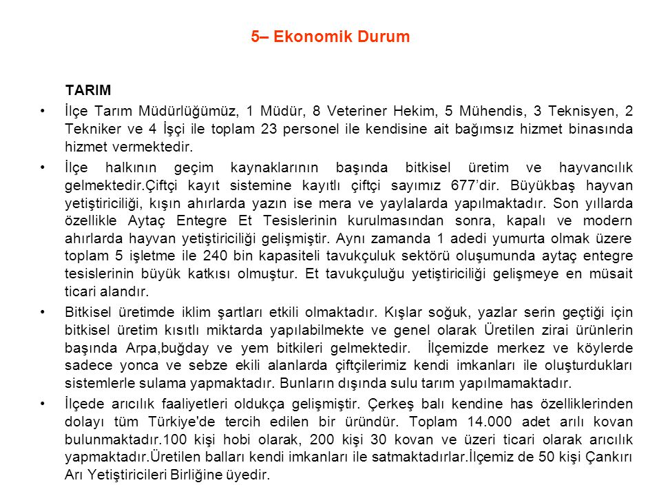 5– Ekonomik Durum TARIM.