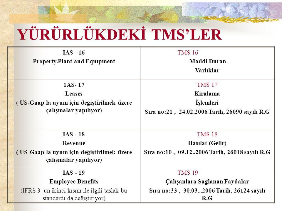 YÜRÜRLÜKDEKİ TMS'LER IAS - 16 Property.Plant and Equıpment TMS 16