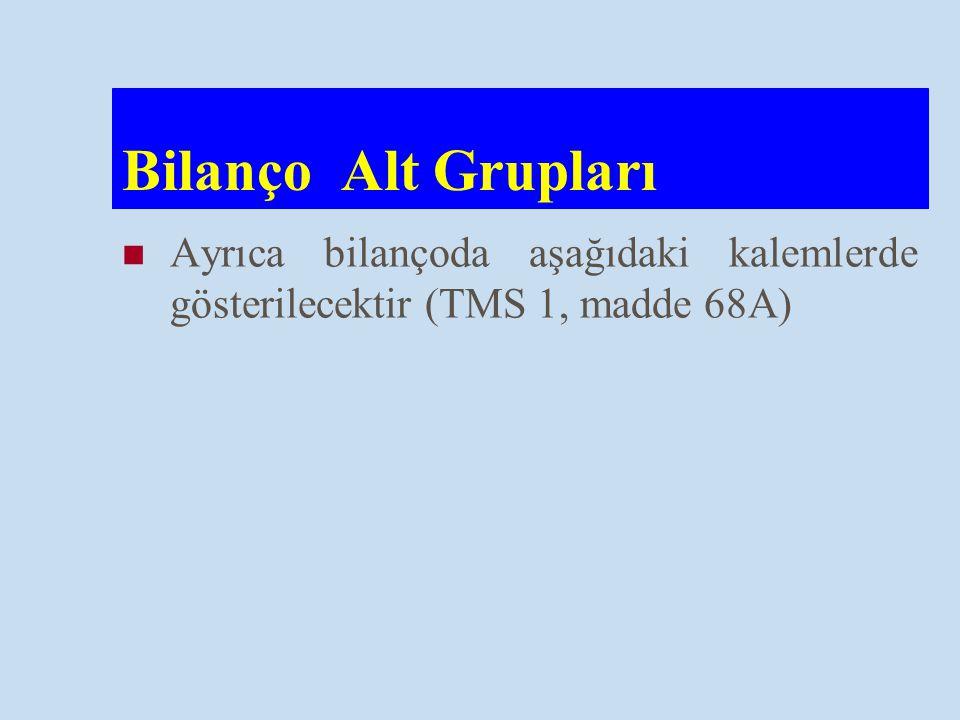 Bilanço Alt Grupları Ayrıca bilançoda aşağıdaki kalemlerde gösterilecektir (TMS 1, madde 68A)