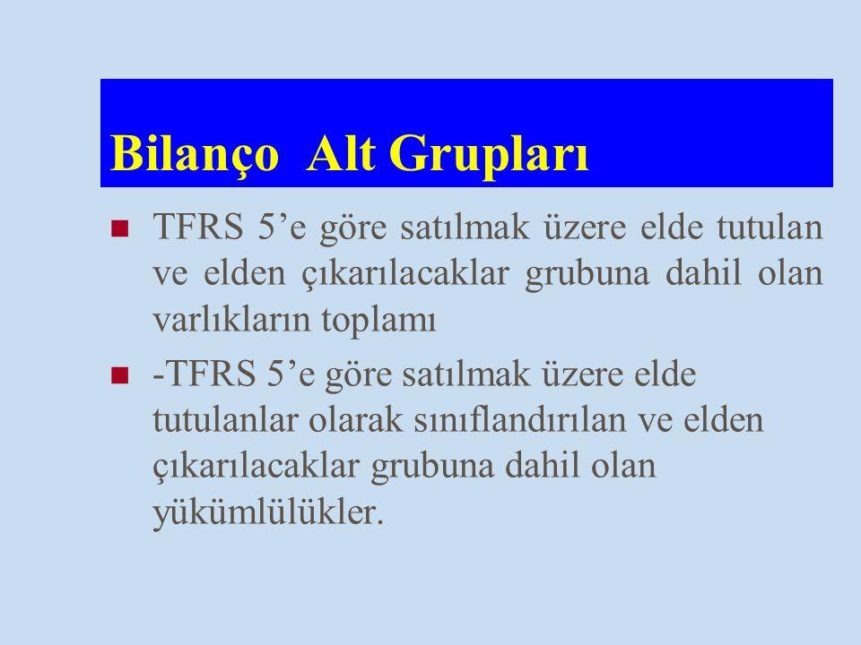 Bilanço Alt Grupları TFRS 5'e göre satılmak üzere elde tutulan ve elden çıkarılacaklar grubuna dahil olan varlıkların toplamı.