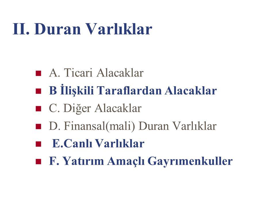 II. Duran Varlıklar A. Ticari Alacaklar