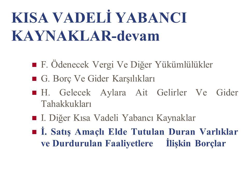 KISA VADELİ YABANCI KAYNAKLAR-devam