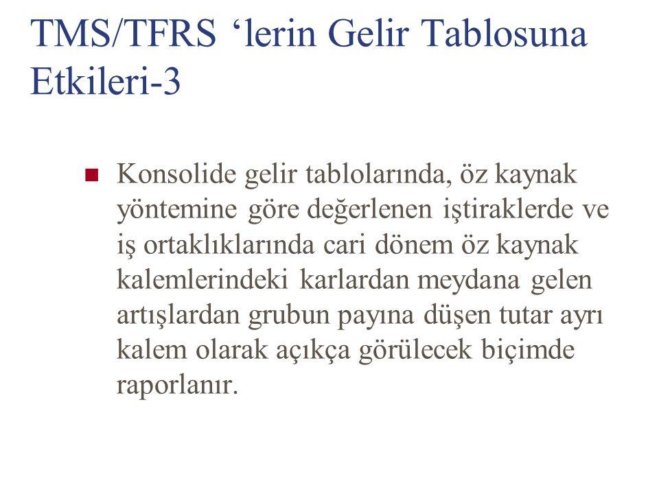 TMS/TFRS 'lerin Gelir Tablosuna Etkileri-3