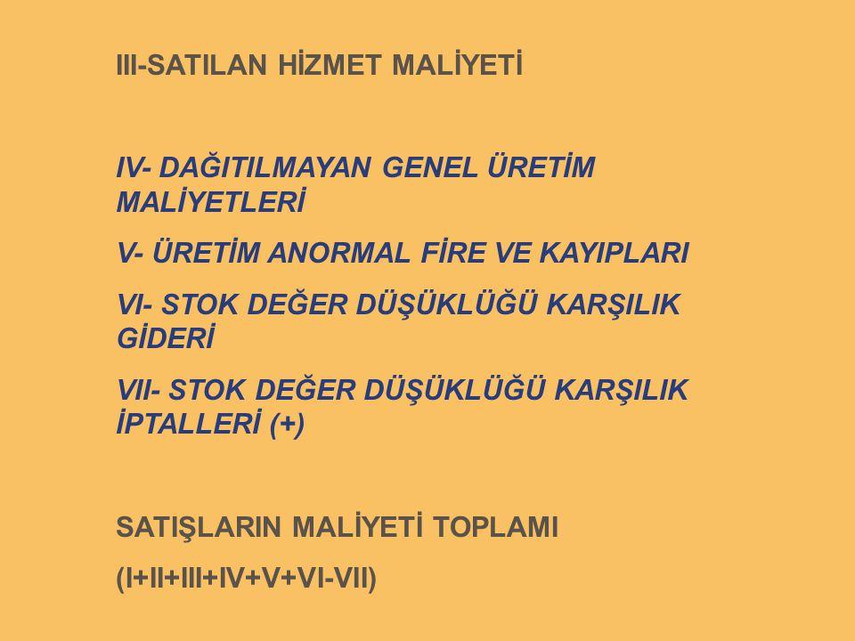 III-SATILAN HİZMET MALİYETİ
