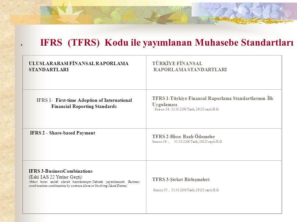 . IFRS (TFRS) Kodu ile yayımlanan Muhasebe Standartları
