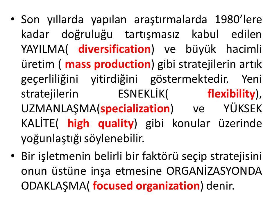 Son yıllarda yapılan araştırmalarda 1980'lere kadar doğruluğu tartışmasız kabul edilen YAYILMA( diversification) ve büyük hacimli üretim ( mass production) gibi stratejilerin artık geçerliliğini yitirdiğini göstermektedir. Yeni stratejilerin ESNEKLİK( flexibility), UZMANLAŞMA(specialization) ve YÜKSEK KALİTE( high quality) gibi konular üzerinde yoğunlaştığı söylenebilir.