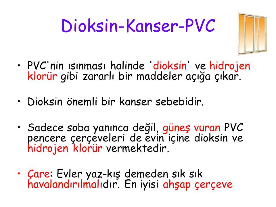 Dioksin-Kanser-PVC PVC nin ısınması halinde dioksin ve hidrojen klorür gibi zararlı bir maddeler açığa çıkar.