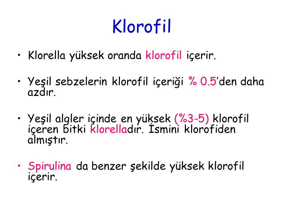 Klorofil Klorella yüksek oranda klorofil içerir.