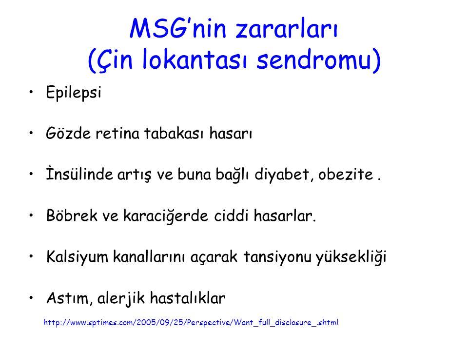 MSG'nin zararları (Çin lokantası sendromu)