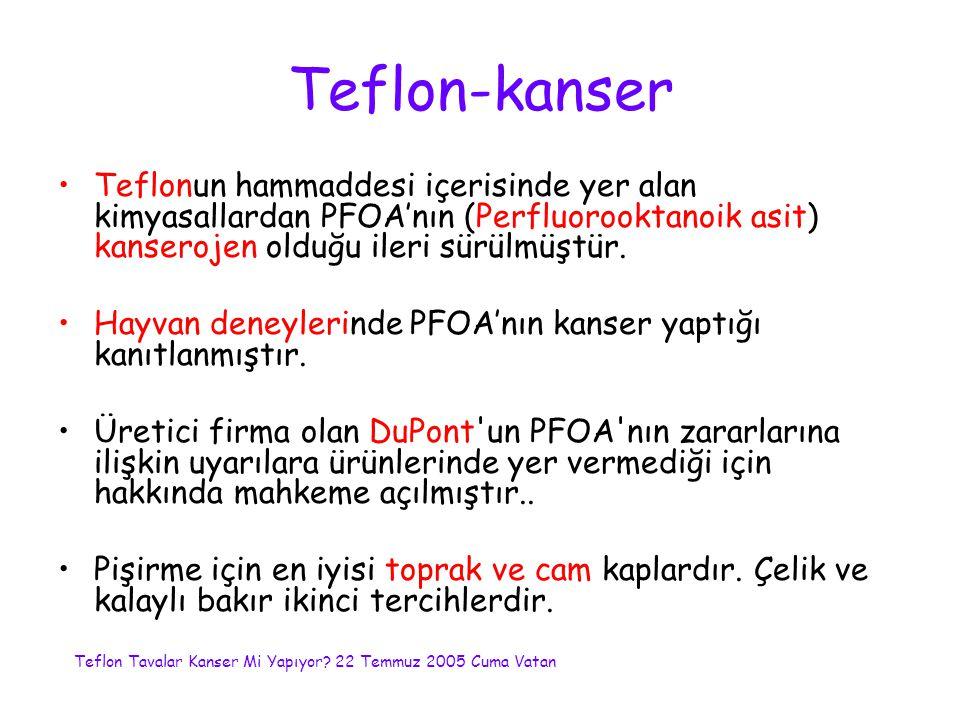 Teflon-kanser Teflonun hammaddesi içerisinde yer alan kimyasallardan PFOA'nın (Perfluorooktanoik asit) kanserojen olduğu ileri sürülmüştür.