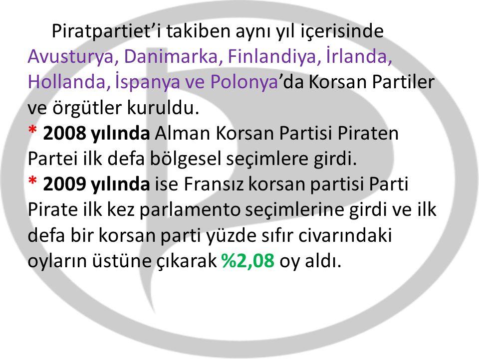 Piratpartiet'i takiben aynı yıl içerisinde Avusturya, Danimarka, Finlandiya, İrlanda, Hollanda, İspanya ve Polonya'da Korsan Partiler ve örgütler kuruldu.