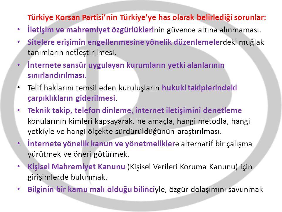 Türkiye Korsan Partisi'nin Türkiye ye has olarak belirlediği sorunlar:
