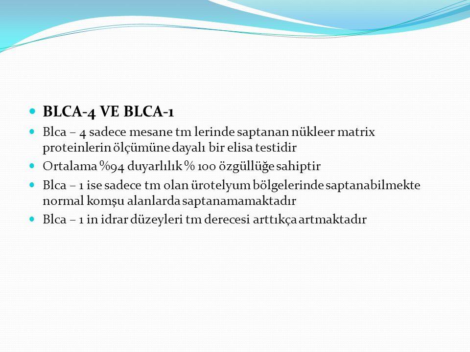 BLCA-4 VE BLCA-1 Blca – 4 sadece mesane tm lerinde saptanan nükleer matrix proteinlerin ölçümüne dayalı bir elisa testidir.