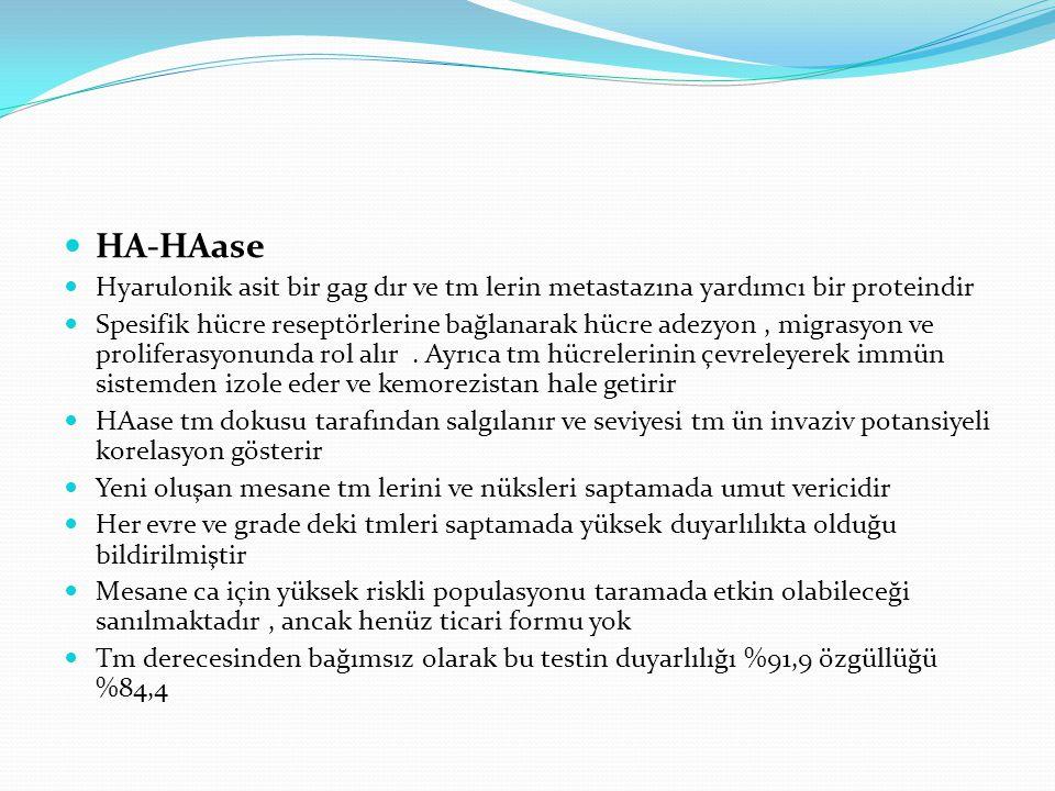 HA-HAase Hyarulonik asit bir gag dır ve tm lerin metastazına yardımcı bir proteindir.
