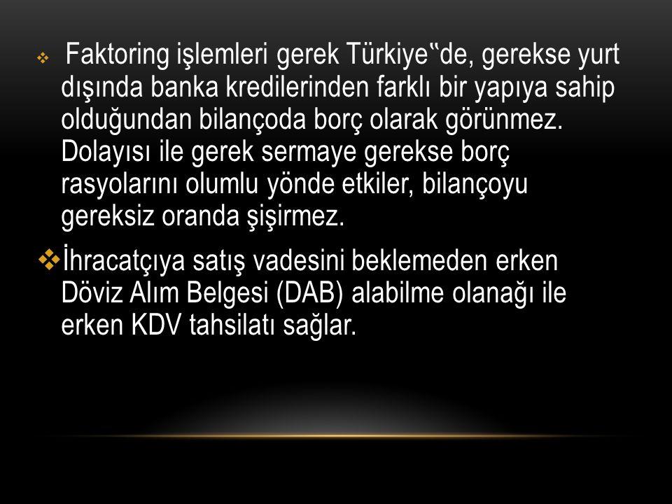 """Faktoring işlemleri gerek Türkiye""""de, gerekse yurt dışında banka kredilerinden farklı bir yapıya sahip olduğundan bilançoda borç olarak görünmez. Dolayısı ile gerek sermaye gerekse borç rasyolarını olumlu yönde etkiler, bilançoyu gereksiz oranda şişirmez."""