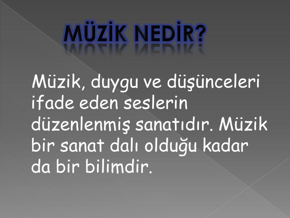 MÜZİK NEDİR. Müzik, duygu ve düşünceleri ifade eden seslerin düzenlenmiş sanatıdır.