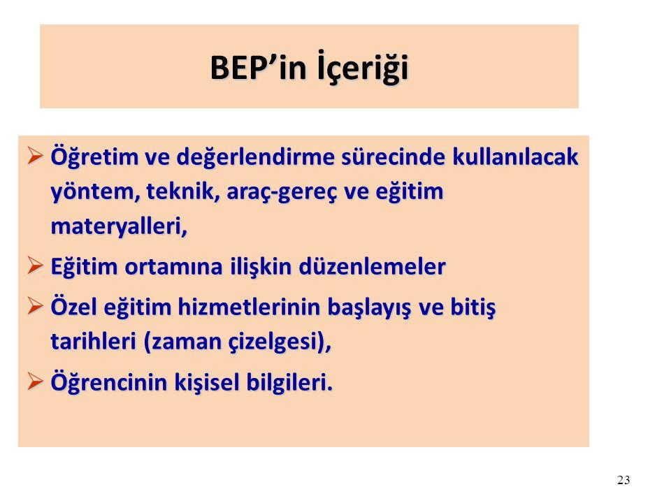 BEP'in İçeriği Öğretim ve değerlendirme sürecinde kullanılacak yöntem, teknik, araç-gereç ve eğitim materyalleri,
