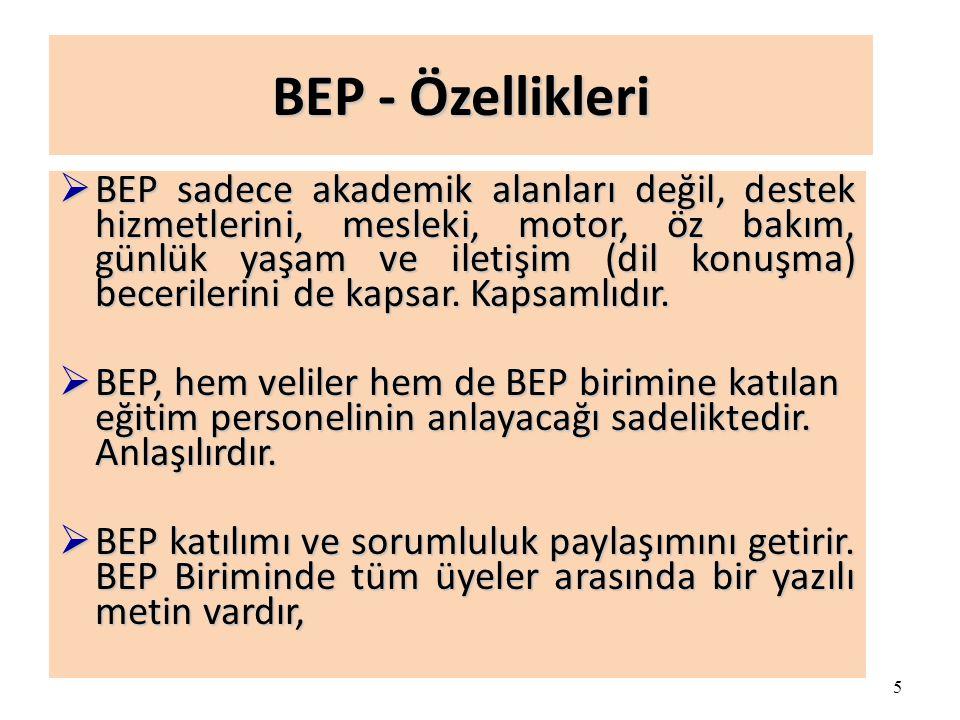 BEP - Özellikleri