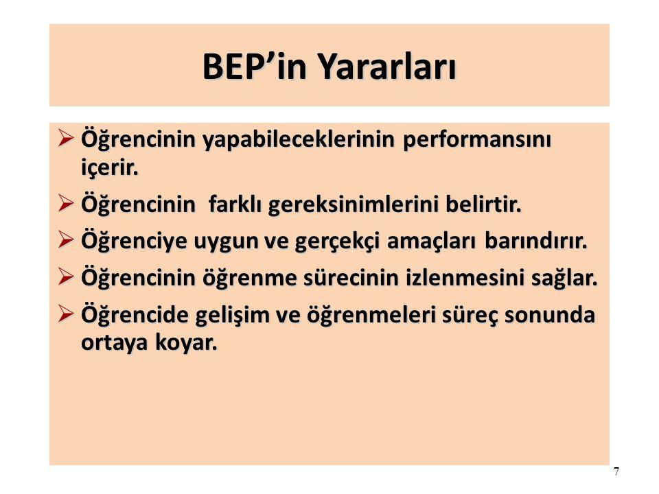 BEP'in Yararları Öğrencinin yapabileceklerinin performansını içerir.