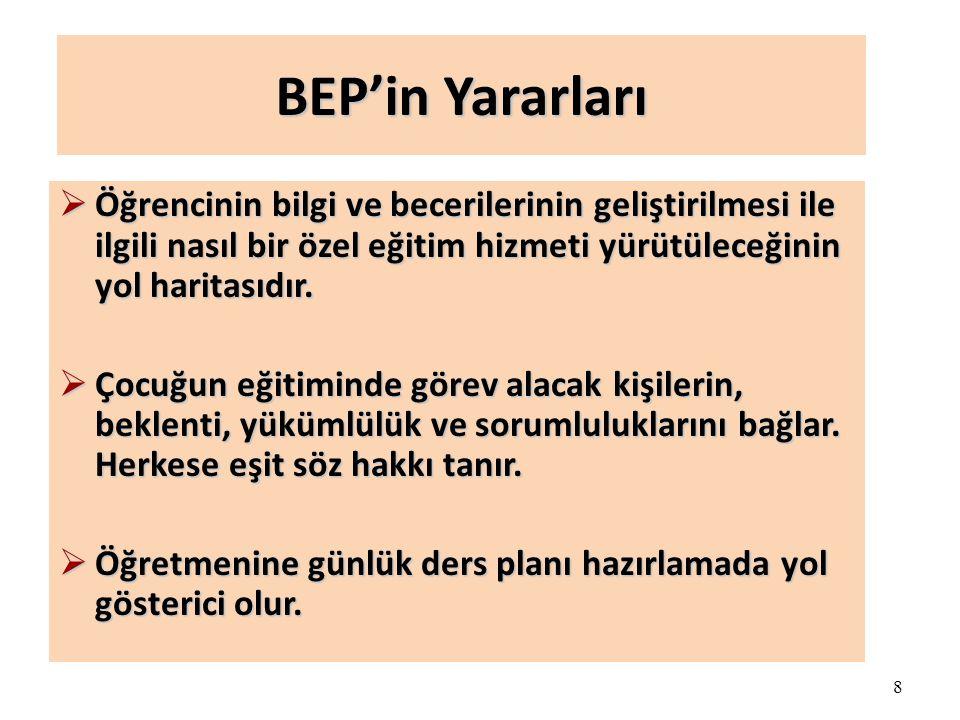 BEP'in Yararları Öğrencinin bilgi ve becerilerinin geliştirilmesi ile ilgili nasıl bir özel eğitim hizmeti yürütüleceğinin yol haritasıdır.